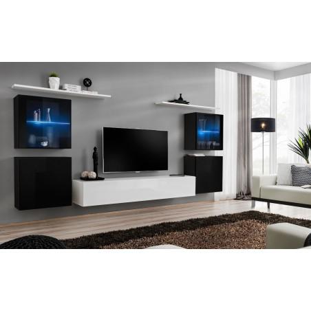 Ensemble meuble salon mural SWITCH XIV design, coloris blanc et noir brillant.