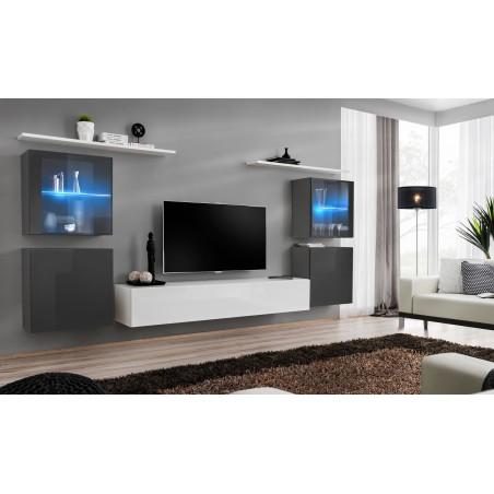 Ensemble meuble salon mural SWITCH XIV design, coloris blanc et gris brillant.