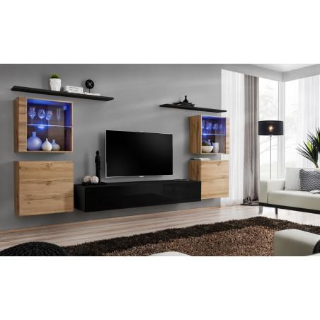 Ensemble meuble salon mural SWITCH XIV design, coloris noir brillant et chêne Wotan.