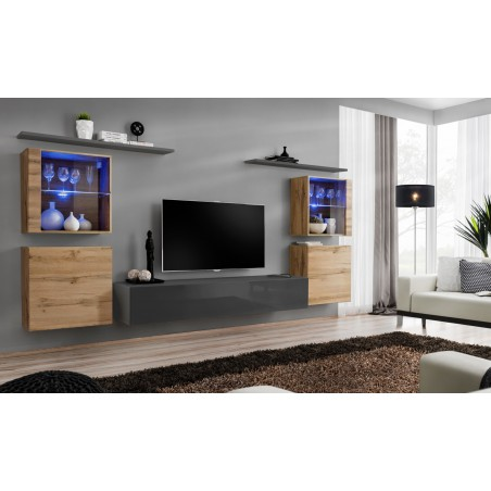Ensemble meuble salon mural SWITCH XIV design, coloris gris brillant et chêne Wotan.