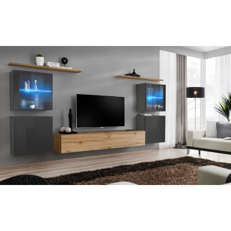 Ensemble meuble salon mural SWITCH XIV design, coloris chêne Wotan et gris brillant.