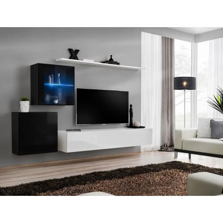 Ensemble meuble salon mural SWITCH XV design, coloris blanc et noir brillant.