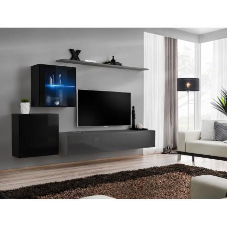 Ensemble meuble salon mural SWITCH XV design, coloris gris et noir brillant.