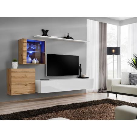 Ensemble meuble salon mural SWITCH XV design, coloris blanc brillant et chêne Wotan.
