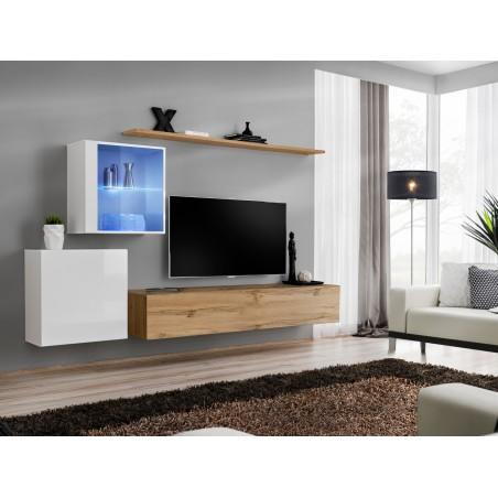 Ensemble meuble salon mural SWITCH XV design, coloris chêne Wotan et blanc brillant.