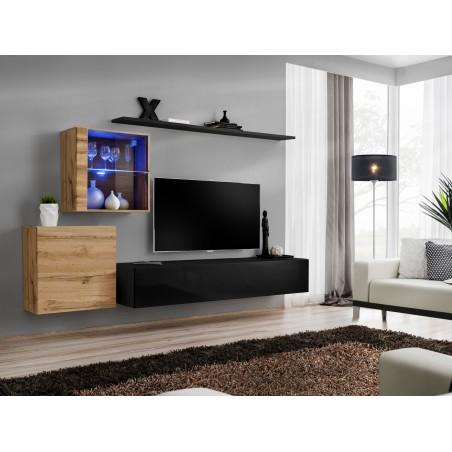 Ensemble meuble salon mural SWITCH XV design, coloris noir brillant et chêne Wotan.