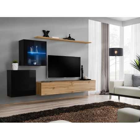 Ensemble meuble salon mural SWITCH XV design, coloris chêne Wotan et noir brillant.