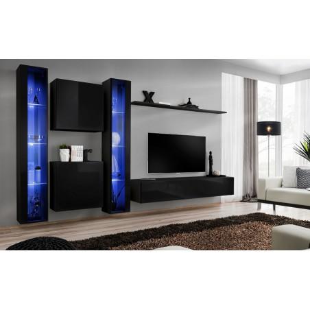 Ensemble meuble salon mural SWITCH XVI design, coloris noir brillant.