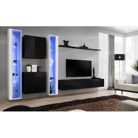 Ensemble meuble salon mural SWITCH XVI design, coloris noir et blanc brillant.
