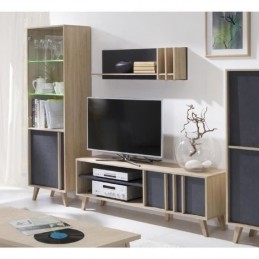 Ensemble design pour votre salon MALMO. Bibliothèque petit modèle + Meuble tv + Etagère.