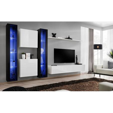 Ensemble meuble salon mural SWITCH XVI design, coloris blanc et noir brillant.