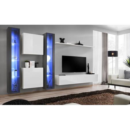 Ensemble meuble salon mural SWITCH XVI design, coloris blanc et gris brillant.