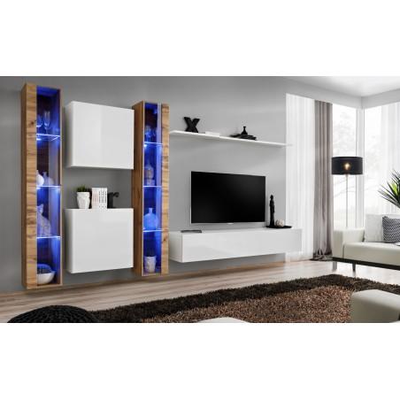 Ensemble meuble salon mural SWITCH XVI design, coloris blanc brillant et chêne Wotan.