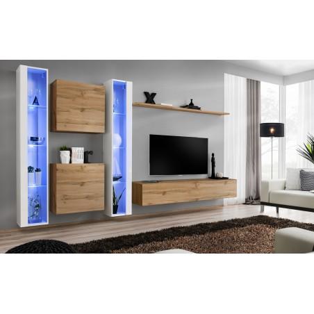 Ensemble meuble salon mural SWITCH XVI design, coloris chêne Wotan et blanc brillant.