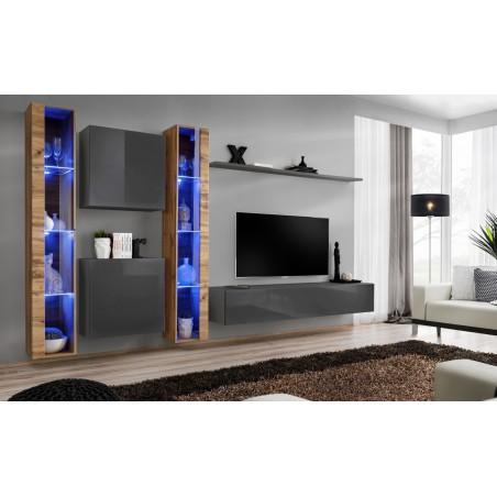Ensemble meuble salon mural SWITCH XVI design, coloris gris brillant et chêne Wotan.