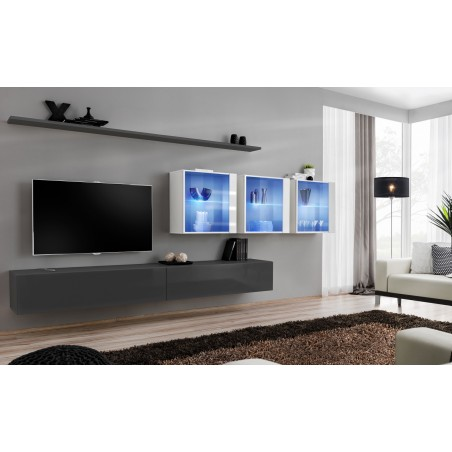 Ensemble meuble salon mural SWITCH XVII design, coloris gris et blanc brillant.