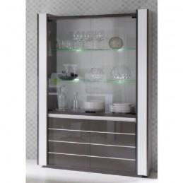 Vitrine, vaisselier, argentier LINA + LED grise blanche brillante
