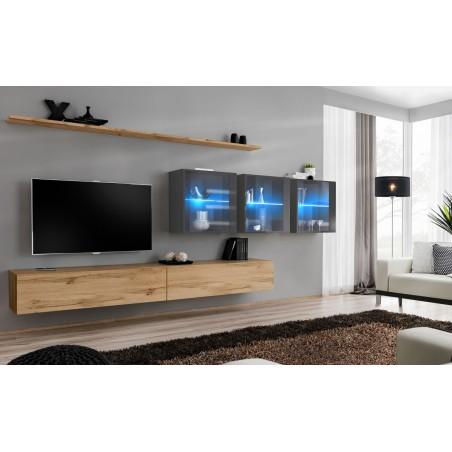 Ensemble meuble salon mural SWITCH XVII design, coloris chêne Wotan et gris brillant.