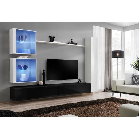 Ensemble meuble salon mural SWITCH XVIII design, coloris noir et blanc brillant.