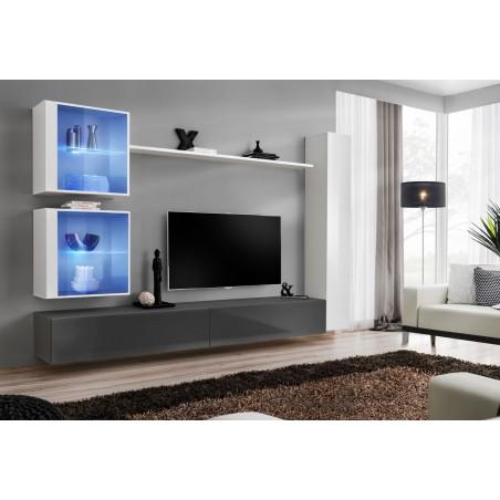 Ensemble meuble salon mural SWITCH XVIII design, coloris gris et blanc brillant.