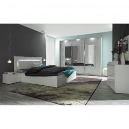 PANAREA Lit design avec LED + 2 chevets + Sommier 180x200 cm.