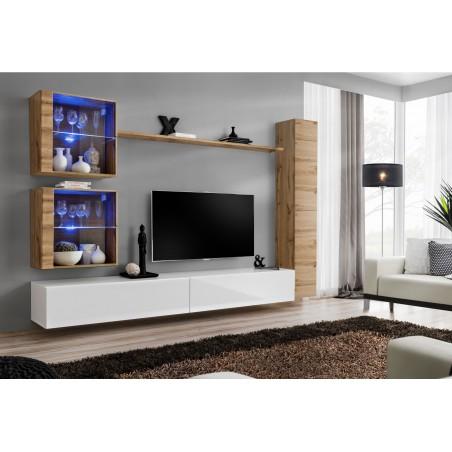 Ensemble meuble salon mural SWITCH XVIII design, coloris blanc brillant et chêne Wotan.