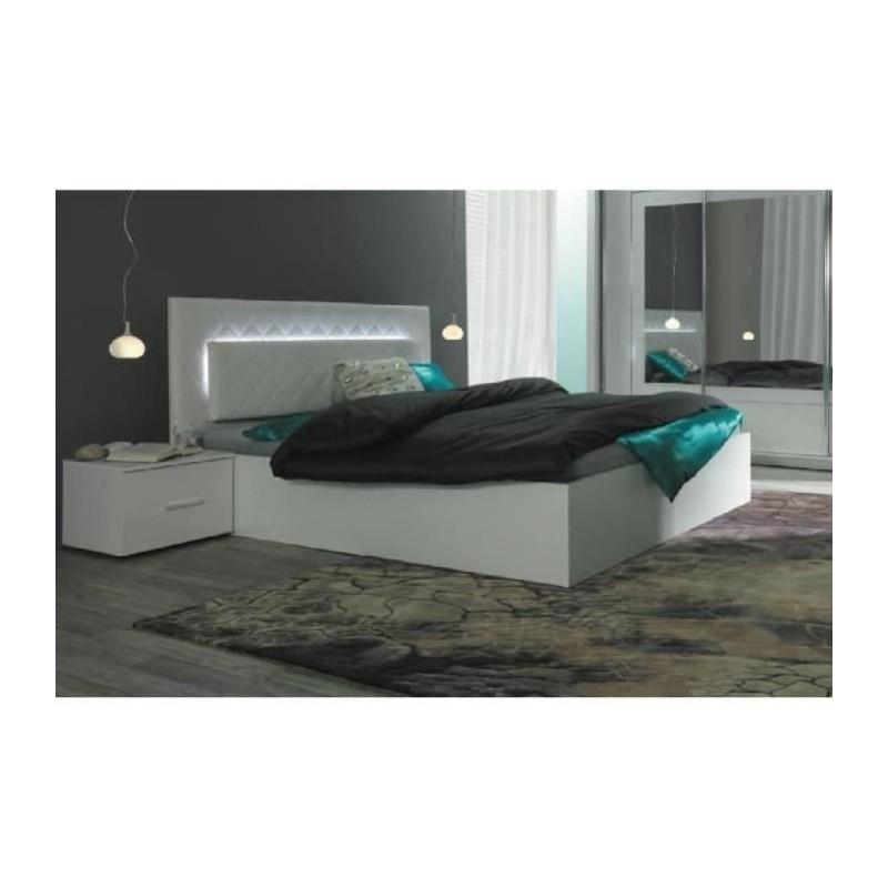 ensemble pour chambre coucher panarea lit adulte design avec led. Black Bedroom Furniture Sets. Home Design Ideas