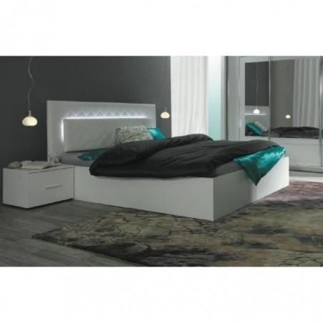 Ensemble pour chambre à coucher PANAREA. Lit adulte design avec LED + deux chevets + sommier. Couchage 180x200 cm.