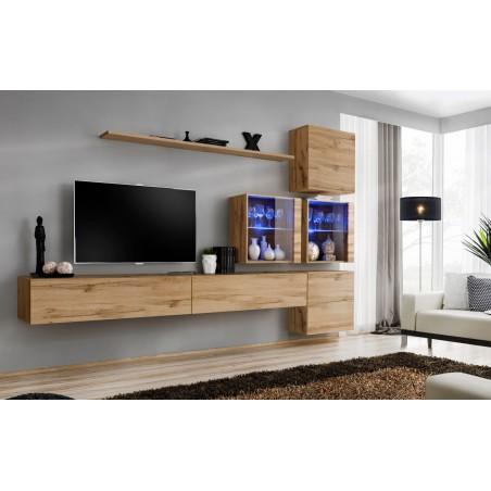 Ensemble meubles salon SWITCH XIX design, coloris chêne Wotan.