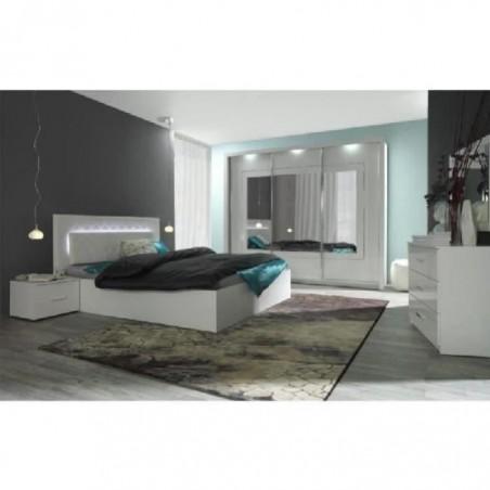 Chambre à coucher complète PANAREA + LED. Lit + garde robe + chevets + commode. Coloris blanc, finition chrome.