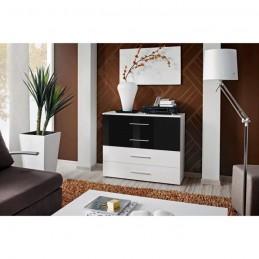 Commode pour chambre à coucher GONE corps + 2 tiroirs blanc mat / 2 tiroirs noirs brillants.