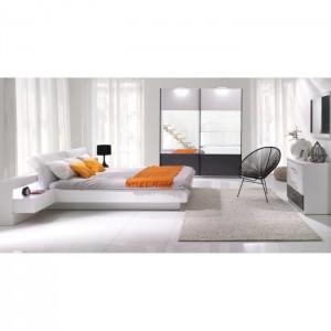Lit coffre adulte RENATO. Couchage 160x200 cm. Chevets intégrés avec LED. Coloris blanc. Lit design et moderne