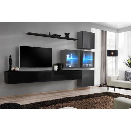 Ensemble meubles de salon SWITCH XIX design, coloris noir et gris brillant.