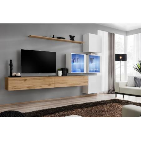 Ensemble meubles de salon SWITCH XIX design, coloris chêne Wotan et blanc brillant.