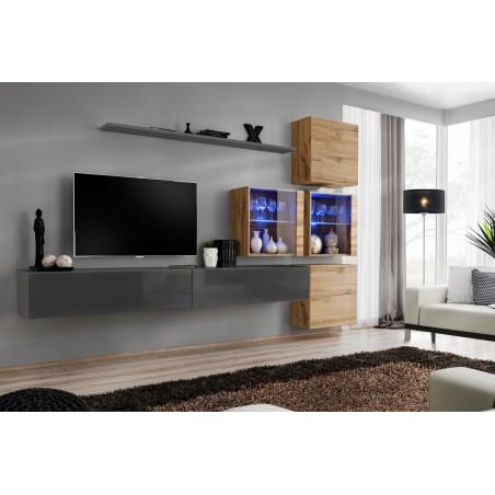 Ensemble meubles de salon SWITCH XIX design, coloris gris brillant et chêne Wotan.