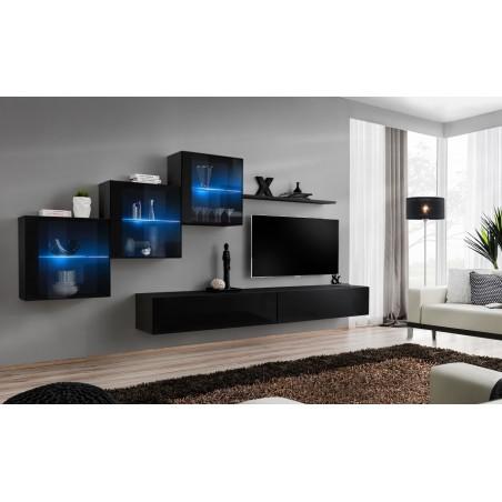 Ensemble meubles de salon SWITCH XX design, coloris noir brillant.