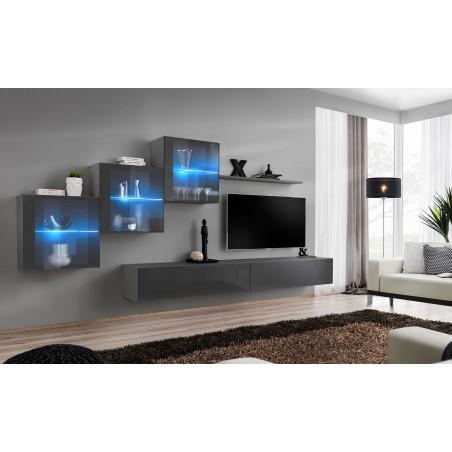 Ensemble meubles de salon SWITCH XX design, coloris gris brillant.