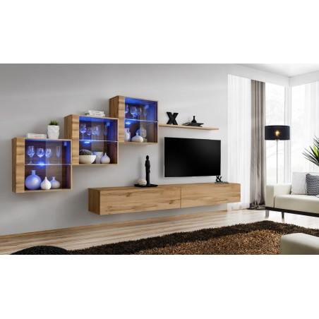 Ensemble meubles de salon SWITCH XX design, coloris chêne Wotan.