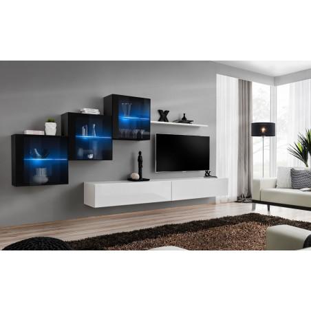 Ensemble meubles de salon SWITCH XX design, coloris blanc et noir brillant.