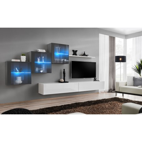 Ensemble meubles de salon SWITCH XX design, coloris blanc et gris brillant.