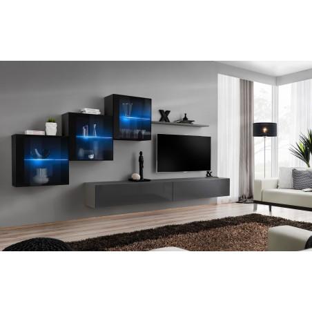 Ensemble meubles de salon SWITCH XX design, coloris gris et noir brillant.