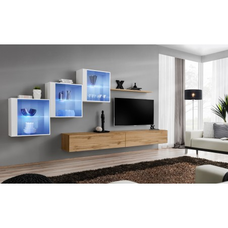 Ensemble meubles de salon SWITCH XX design, coloris chêne Wotan et blanc brillant.