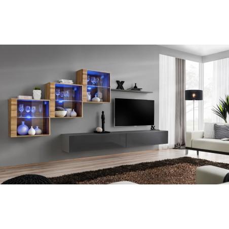 Ensemble meubles de salon SWITCH XX design, coloris gris brillant et chêne Wotan.