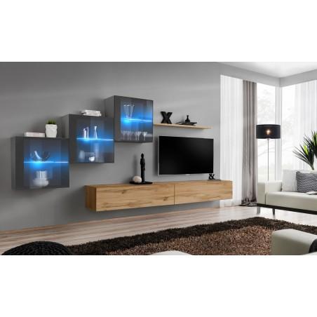 Ensemble meubles de salon SWITCH XX design, coloris chêne Wotan et gris brillant.