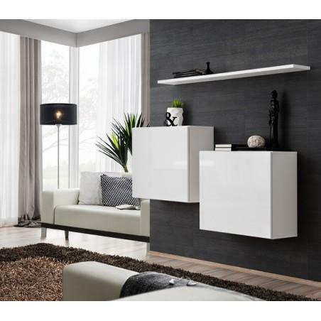 Ensemble meubles de salon SWITCH SBI design, coloris blanc brillant.