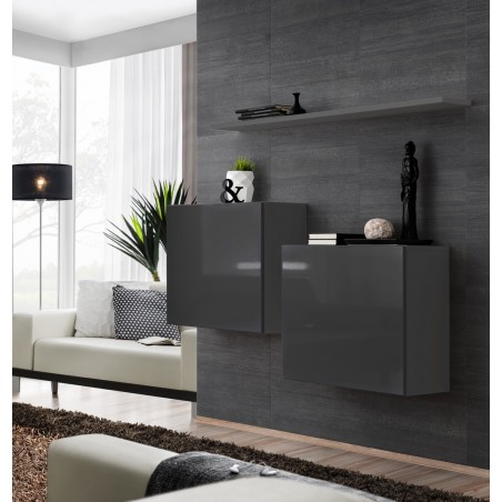 Ensemble meubles de salon SWITCH SBI design, coloris gris brillant.