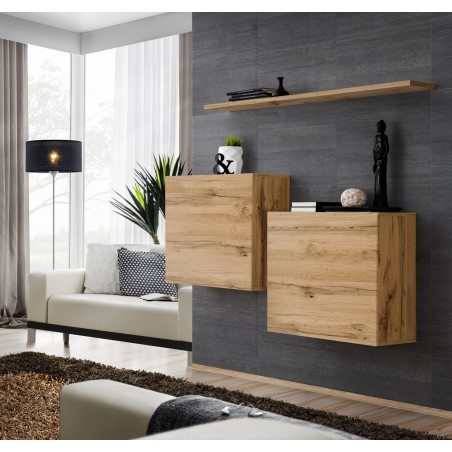 Ensemble meubles de salon SWITCH SBI design, coloris chêne Wotan.