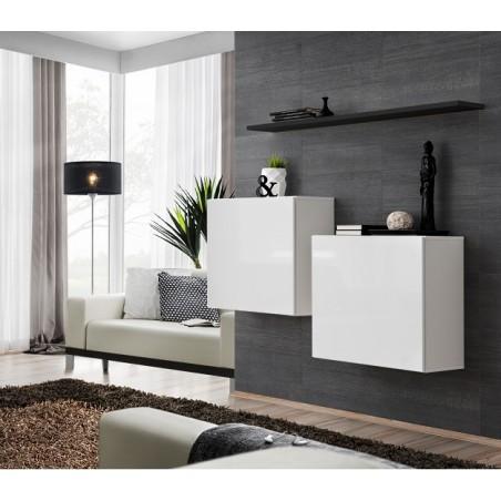 Ensemble meubles de salon SWITCH SBI design, coloris blanc brillant et étagère noir.