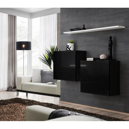 Ensemble meubles de salon SWITCH SBI design, coloris noir brillant et étagère blanche.