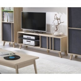 Meuble TV déco scandinave MALMO. Coloris gris béton + sonoma.